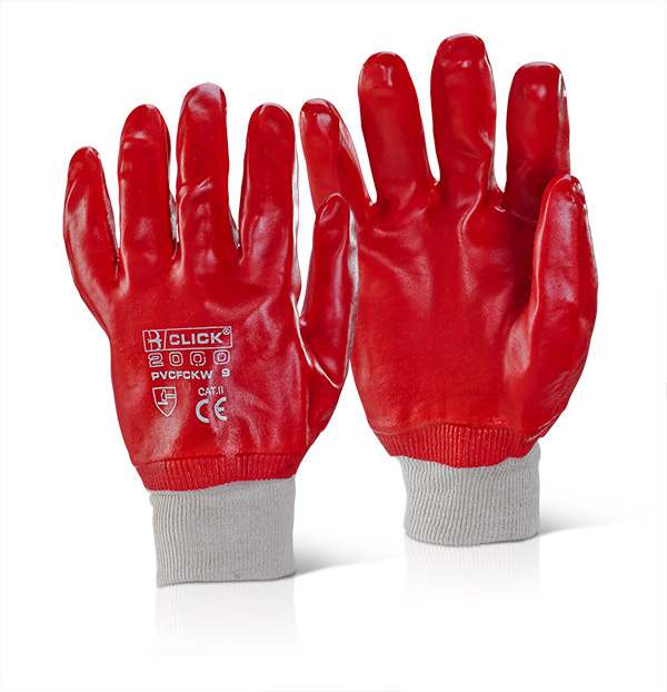 red pvc knitted wrist gloves